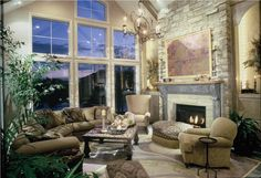 Rustic Country Living Room | Sumptuous Country/Rustic Living & Family Room by Barbara Schlattman