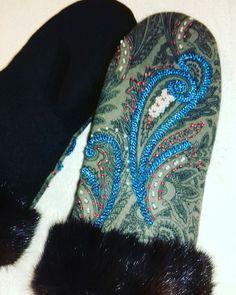 Варежки ручная работа вышивка бисер