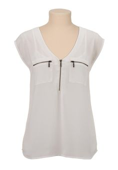 V-neck chiffon zip pocket blouse - maurices.com