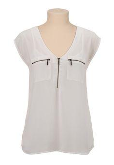 V-neck chiffon zip pocket blouse - maurices.com