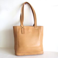 COACH Vintage Beige Leather Lunch Tote by pascalvintage on Etsy, $58.00
