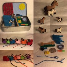 miniature felt horse in a tin play set by MatiesMeadow on Etsy https://www.etsy.com/listing/247896815/itty-bitty-maties-miniature-felt-horse