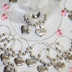 Personalised Wedding Table Decorations Champagne Wine Gl Charms Favours Diy Pinterest Favors And