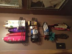 Small bathroom or no counter space? Hang a fancy shower organizer for all your hair products and hang jewelry or headbands on the hooks!
