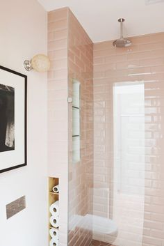 Pale pink subway tiled bathroom idea | home decor | interior design