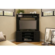 South Shore Vertex Ebony Corner TV Unit for TVs up to 42""