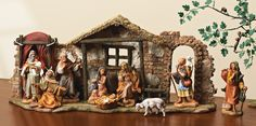 9-pc Facade Nativity Set-Item# 54465. Perfect for tabletop displays, under the tree, and skinny enough for the mantel.