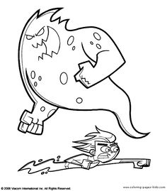 Danny Phantom Attack Enemies Coloring Pages For Kids Printable