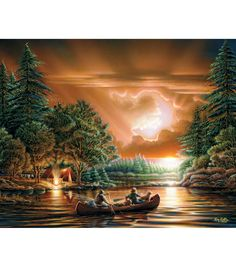 Watch a vibrant sunset over a peaceful campsite in this White Mountain Puzzle from the Terry Redlin Collection: Bountiful Harvest. >p>Puzzle contains 1000 pieces. Size: 24x30in. WARNING: CHOKING