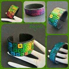 Polymer clay bracelets with bright colored squares by Boglarka Balinth