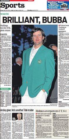 Any Bubba fans out there?  April 9, 2012 sports front from the Knoxville News Sentinel.