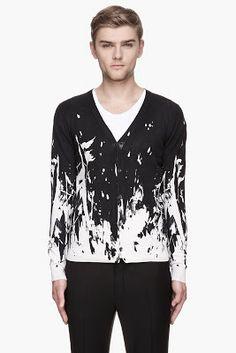 Mcq Alexander Mcqueen Black White Splattered Knit Cardigan