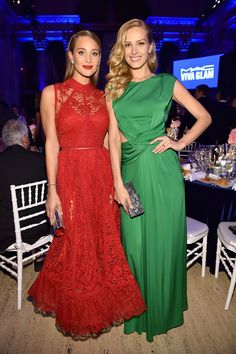 What to wear to a gala.  Hannah Davis in Elie Saab and Petra Nemcova