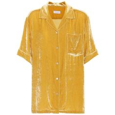 Dries Van Noten Velvet top (4 400 SEK) ❤ liked on Polyvore featuring tops, t-shirts, shirts, dresses, yellow, dries van noten shirt, dries van noten top, yellow tee, dries van noten t shirt and velvet t shirt