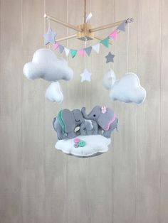 Cloud mobile nursery ceiling mobile for nursery baby mobile elephant mobile nursery hanging decor baby crib . Star Mobile, Cloud Mobile, Felt Mobile, Baby Crib Mobile, Baby Cribs, Elephant Decoration, Elephant Mobile, Diy Bebe, Elephant Family