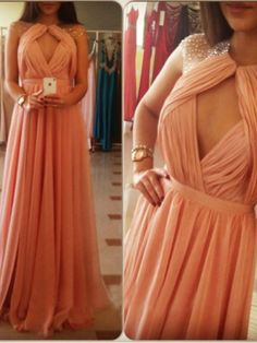 Image of Sexy Light Coral Beaded Rpund Neckline Open Back Floor Length Prom Dress Formal Dress