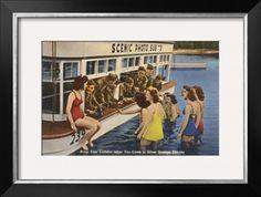 Servicemen, Bathing Girls, Silver Springs, Florida Giclee Print at Art.com