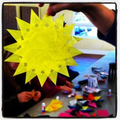 Crafting with parents at Davis Waldorf School - Window stars