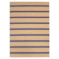 Portsmouth Rectangular Patio Rug - Blue/Sand Stripe