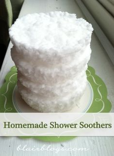 3 things: baking soda, cupcake liners and essential oil :)  Bathroom Shower Soothers DIY :)