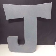 "Large Wooden Handcrafted Cut Decorative Letter ""J"" Painted Gray 13"" x 11"" 