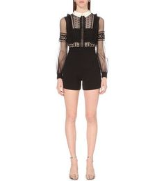 321.75$  Buy here - http://vieuw.justgood.pw/vig/item.php?t=m76yfcs14746 - Self Portrait Women's Black Lace Chiffon Balloon Long Sleeve Romper Jumpsuit 6