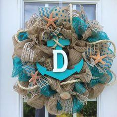 deco mesh beach wreaths | deco mesh wreath,burlap nautical wreath, beach wreath,front door beach ...