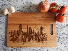 Personalized Cutting Board New York city wooden wedding gift wedding anniversary Anniversary Dates, Wedding Anniversary Gifts, Wedding Gifts, Wall Decor Stickers, Wall Decals, Wall Art, Walking Dead, Dates Tree, Wood Bird