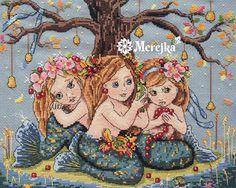 mermaids, frog, bell, merejka, cross stitch, cross stitch kit, tmmerejka
