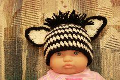 black and white infant zebra beanie