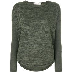 Rag & Bone ribbed sleeved top (€135) ❤ liked on Polyvore featuring tops, green, long sleeve stretch top, stretchy tops, stretch top, green long sleeve top and green top