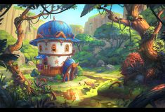 I love to draw characters, locations and illustration. My favorite cartoon style. I also like the style of realistic painting. Fantasy Art Landscapes, Fantasy Landscape, Landscape Art, Environment Concept, Environment Design, Art Environnemental, Fantasy Concept Art, Fantasy House, Cartoon Background