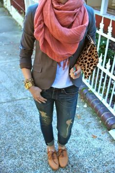 Oversized Scarf  With Blazer and Jeans. Love the ripped jeans with the blazer and a white top