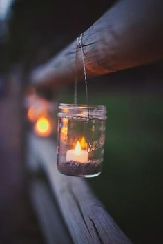 Outdoor Weddings Add warm rustic appeal to your outdoor wedding by hanging candles in mason jars when the sun goes down. - See how other Canadian brides used twinkling lights to enhance their celebrations.Read more › Outdoor Night Wedding, Backyard Wedding Lighting, Wedding Backyard, Wedding Pergola, Party Outdoor, Garden Wedding, Fence Lighting, Outdoor Lighting, Lighting Ideas