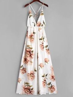 Criss Cross Slit Floral Maxi Dress - White S Mobile White Maxi Dresses, Cute Dresses, Casual Dresses, White Dress, Summer Dresses, Summer Maxi, Long Dresses, Dress Long, Dresses Dresses