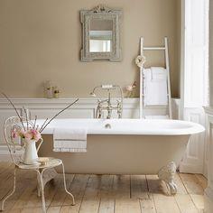 Here are my 9 dream bathroom decorating elements. In a perfect word, my dream bathroom would have every one of these! A chandelier, a clawfoot tub. Feminine Bathroom, Modern Bathroom Design, Neutral Bathroom, Bathroom Designs, Bathroom Interior, Bathroom Colours, Simple Bathroom, Cream Bathroom, Classic Bathroom