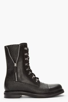 PIERRE BALMAIN Black Leather Snakeskin Zippered Combat Boots » $1125, Fierce!