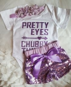 Pretty Eyes Chubby Thighs White Onesie Purple Sparkle Sequin Shorts Headband Free Gift 3mo Baby Girl Shower Gifts Kids Infant Girl's Clothes Sets #infantsgirl
