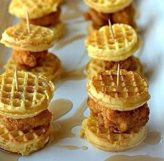 These tempting chicken and waffle sliders. | 34 Pictures Of Circular Food That Make The World A Little Brighter