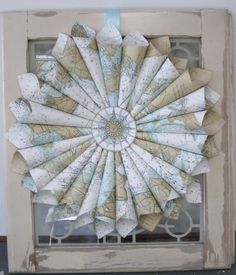 Lovely twist on the sheet music wreath using old chart maps.