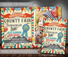 County Fair Invitation, County Fair Birthday Invitation, County Fair Invite, Carnival Invitation, Red and Blue, Vintage, Rustic #565 by PerfectPrintableCo on Etsy