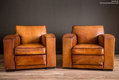 French Club Chairs by William's Antiks | WA26-35 Churchill Giant Square Pair of Leather French Club Chairs | 1