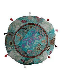 RAJRANG Indian Floor Pillows Traditional Vintage Mandala Decorative Seating Floor Green Throw Pillow Covers Bohemian Round Cushion Case Hippy By Green Throw Pillows, Throw Pillow Covers, Bed Pillows, Boho, Floral Patches, Round Pillow, Floor Cushions, Green Cotton, Decorative Plates
