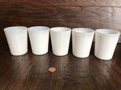 """5 VINTAGE OPALESCENT WHITE MILK GLASS JUICE TUMBLERS 3 1/2"""" TALL"""