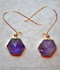 Amethyst Crystal Geometric Gold Earrings