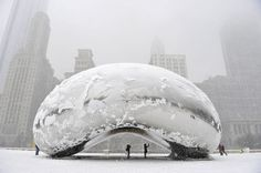 Chicago Bean Covered In Snow By Brian Kersey