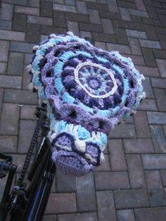 My #crocheted #mandala bike seat cover