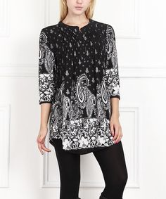 Another great find on #zulily! Black & White Paisley Notch Neck Tunic #zulilyfinds