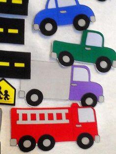 Car felt shapes set 23 pieces felt shapes for flannel boards or felt boards