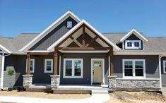 White Exterior Houses, Grey Exterior, House Paint Exterior, Exterior House Colors, Exterior Paint Colors For House With Stone, Grey Brick Houses, Gray Houses, Outside House Colors, Siding Colors For Houses